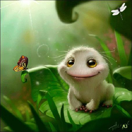 Анимация Улыбчивый зверек сидит на зеленом листике (© Arinka jini), добавлено: 25.03.2015 00:16