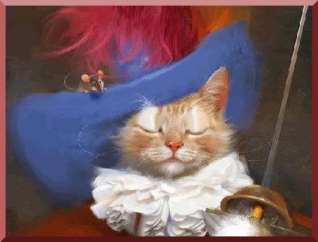 Анимация Кот в костюме мушкетера, со шпагой в лапе, герой мультфильма Кот в сапогах и мышь, сидящая у него на шляпе