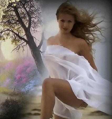 Анимация Девушка в белом платье на фоне весенней природы (© Akela), добавлено: 25.03.2015 01:08