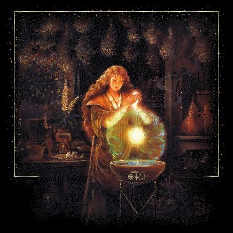 Анимация Девушка с длинными рыжими волосами колдует над чаном с зельем