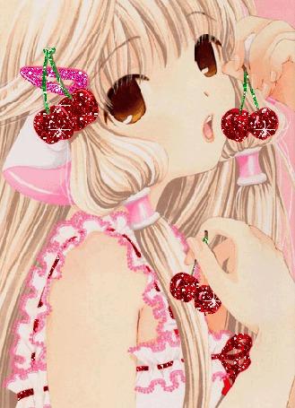 Анимация Чи / Chii из аниме Чобиты / Chobits с вишнями (© elenaiks), добавлено: 25.03.2015 10:01