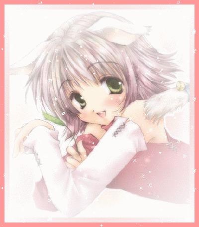 Анимация Зеленоглазая девушка-нэко в красной кофточке с длинными белыми перчатками до плеч лежит с травинкой в руке и смущенно улыбается зрителю (© elenaiks), добавлено: 25.03.2015 10:05