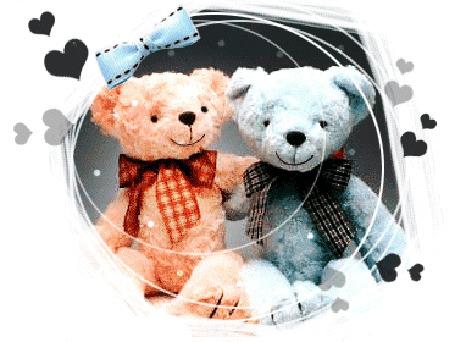 Анимация Два плюшевых медвежонка (© elenaiks), добавлено: 25.03.2015 10:12