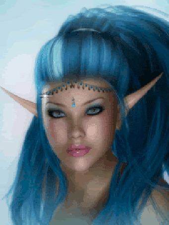 Анимация Девушка эльф с голубыми волосами (© elenaiks), добавлено: 25.03.2015 10:13