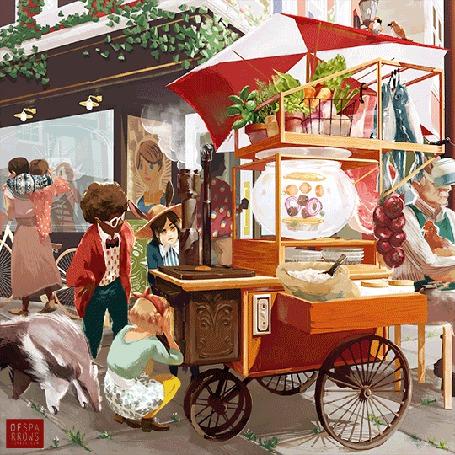 Анимация Дети наблюдают как по волшебству появляется еда, работа художницы Sparrows (© Krista Zarubin), добавлено: 25.03.2015 13:26
