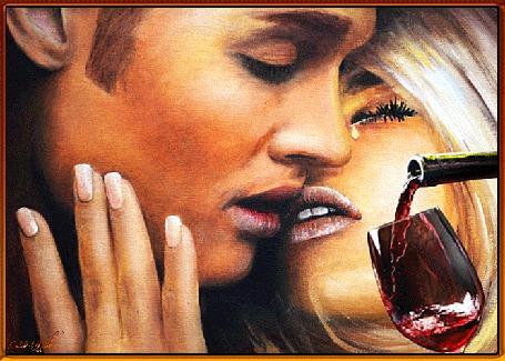 Анимация Девушка нежно касается рукой щеки мужчины, губы застыли в поцелуе, у девушки на глазах слеза, наполняется бокал вином