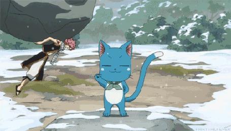 Анимация Natsu Dragneel / Нацу Драгнил и Happy / Хэппи из аниме Fairy Tail / Сказка о Хвосте Феи