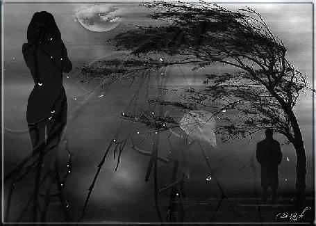 Анимация Девушка смотрит вдаль на уходящего мужчину, одинокое дерево в поле, луна, облака, ветер, (© ДОЛЬКА), добавлено: 25.03.2015 23:15