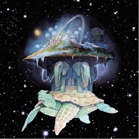Анимация Плоский мир, расположенный на трех слонах и черепахе