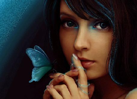 Анимация Девушка с голубой бабочкой на руке (© Akela), добавлено: 01.04.2015 00:04