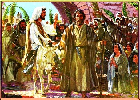 Анимация Вход господень в Иерусалим, Вербное воскресенье. Иисус едет на ослике, вокруг него люди машут пальмовыми ветками