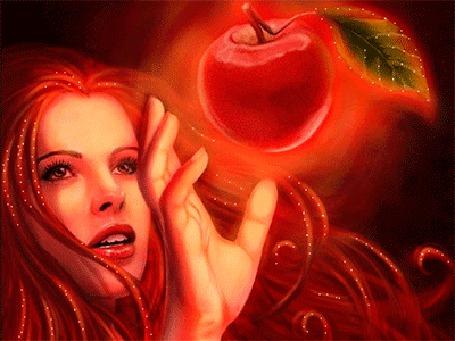 Анимация Девушка срывает красное яблоко (© elenaiks), добавлено: 01.04.2015 10:12
