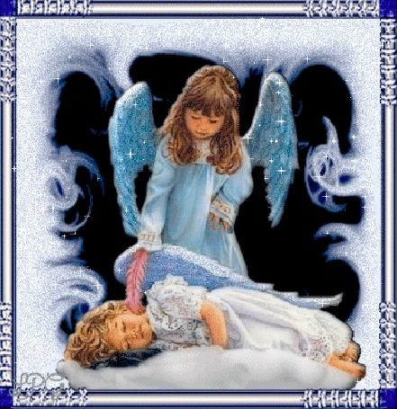 Анимация Ангел девочка с голубыми крыльями склонилась над спящим ангелом мальчиком (© elenaiks), добавлено: 01.04.2015 10:15
