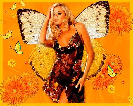 Анимация Девушка с крыльями бабочки (© elenaiks), добавлено: 01.04.2015 10:20