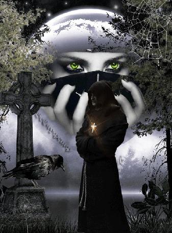 Анимация Лицо девушки на фоне луны, на фоне туманного водоема стоит черный монах у памятника на котором каркает ворона