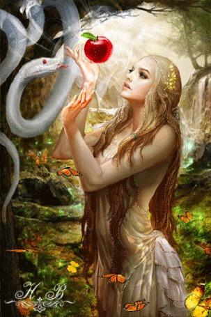 Анимация Девушка протягивает руки к змее с яблоком (Н. В) (© Lady X), добавлено: 02.04.2015 07:03