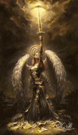 Анимация Ангел держит в поднятой руке меч (Н. В)