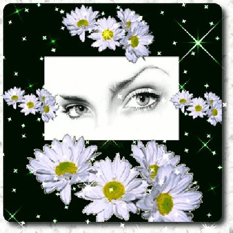 Анимация Глаза девушки в обрамлении ромашек (© elenaiks), добавлено: 02.04.2015 11:38