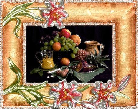 Анимация Натюрморт из фруктов, лежащих в вазе и сока в кувшине (© elenaiks), добавлено: 02.04.2015 11:41