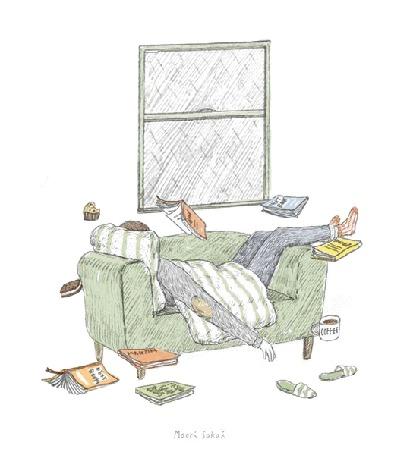 Анимация Девушка лежит в комнате, вокруг летают книги и еда, за окном дождь, художник-аниматор Maori Sakai