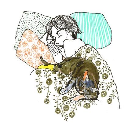 Анимация Девушка и кошка спят вместе
