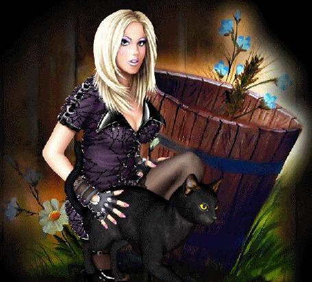 Анимация Девушка блондинка присела возле деревянной бочки, с растущими оттуда голубыми цветами, гладит черного кота (© Akela), добавлено: 03.04.2015 00:09