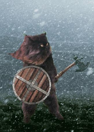 Анимация Кот персидской породы в доспехах и топором, под снегопадом