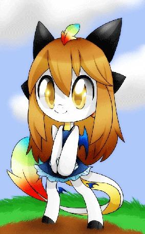 Анимация Девочка лисичка с перышком на голове (© Akela), добавлено: 04.04.2015 17:50