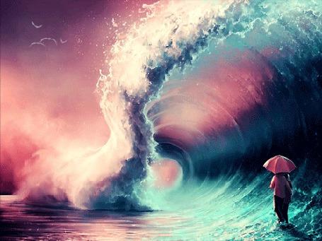 Анимация Парень с девушкой стоят под зонтом у основания поднимающейся волны