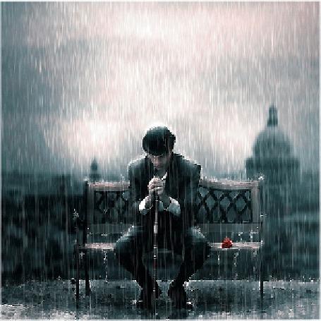 Анимация Мужчина сидит на скамье под проливным дождем (© Angelique), добавлено: 05.04.2015 13:37
