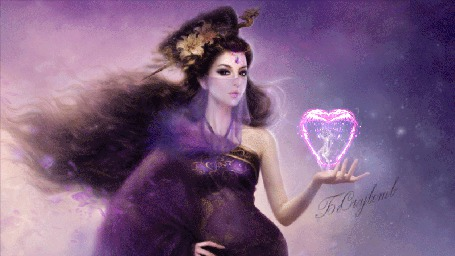 Анимация Девушка в нежной вуали, над рукой дымящееся очертание сердечка