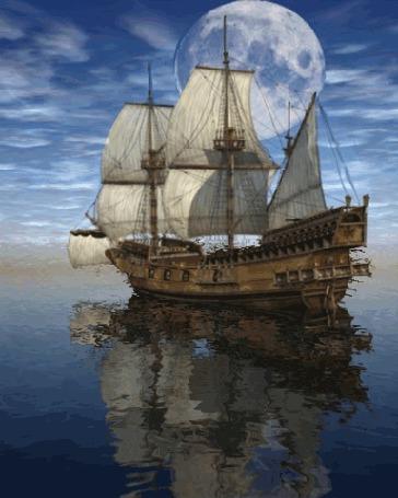 Анимация В море корабль под белыми парусами на фоне далекой планеты и бегущих облаков