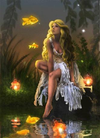 Анимация Девушка, сидя на камне у пруда, смотрит на золотых рыбок в воздухе, возле нее горят ночники (© Angelique), добавлено: 07.04.2015 00:18