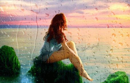 Анимация Девушка сидит на камне, обросшем водорослями на фоне заката, под каплями стекающими по стеклу (© Bezchyfstv), добавлено: 07.04.2015 00:20
