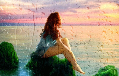 Анимация Девушка сидит на камне, обросшем водорослями на фоне заката, под каплями стекающими по стеклу