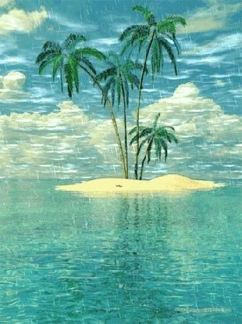 Анимация Тропический дождь на одиночном островке с пальмами в лазурном море на фоне плывущих облаков (© царица Томара), добавлено: 07.04.2015 13:51