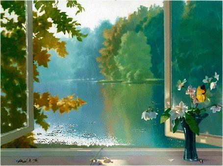 Анимация На подоконнике у раскрытого окна стоит ваза с цветами жасмина на которых сидит бабочка, за окном вид на лесное озеро, идет дождь