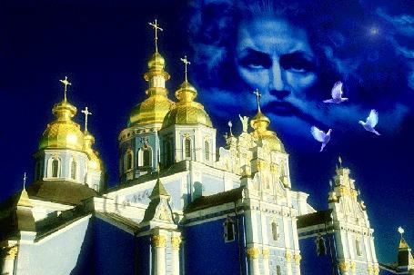 Анимация Церковные купола на фоне синего неба, на котором образ Господа, и три голубя (Благовещенье) (© Bezchyfstv), добавлено: 08.04.2015 00:16