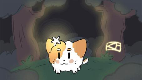 Анимация Котенок пытается достать звездочку, которая висит на его мордочке, работа Slowtho (© chucha), добавлено: 08.04.2015 00:22