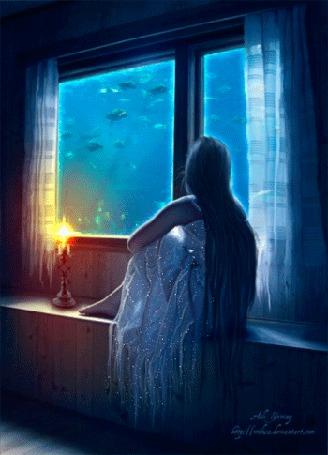 Анимация Девушка с длинными волосами сидит на подоконике и смотрит на рыбок плавающих за окном (© Arinka jini), добавлено: 08.04.2015 00:47