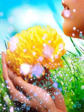 Анимация Девушка держит в руках цветок на фоне неба и зеленой травы (© Lo), добавлено: 08.04.2015 17:36