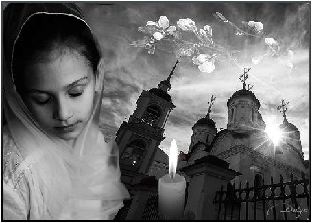 Анимация На фоне церкви и неба стоит девушка, рядом горит свеча, на небе распускается ветка яблони (святая пасха) (© ДОЛЬКА), добавлено: 11.04.2015 01:27