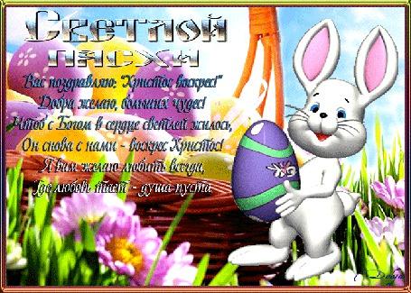Анимация На полянке растут цветы, стоит корзинка с пасхальными яйцами, идет зайчик и несет яичко (Светлой пасхи. Вас поздравляю: Христос воскрес! Добра желаю, больших чудес! Чтоб с Богом в сердце светлей жилось, Он снова с нами - воскрес Христос! Я вам желаем любить всегда, Где любовь тает - душа пуста)