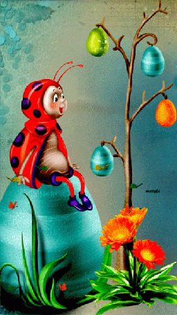 Анимация Божья коровка сидит на огромном яйце, любуясь деревцем украшенным пасхальными яйцами (© царица Томара), добавлено: 12.04.2015 13:27