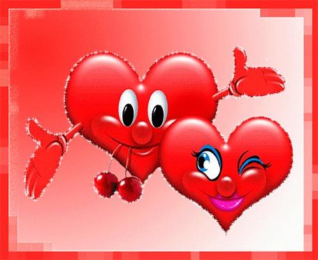 Анимация Два красных сердечка с вишней (© elenaiks), добавлено: 14.04.2015 12:18