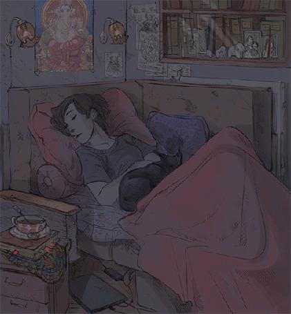 Анимация Девушка спит с кошкой в кровати (© Krista Zarubin), добавлено: 14.04.2015 13:26