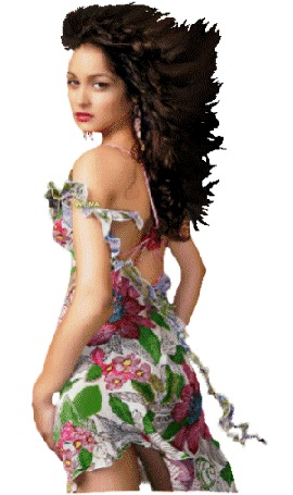 Анимация Девушка шатенка с длинными волосами в легком открытом летнем сарафане поворачивается к нам в профиль то слева, то справа