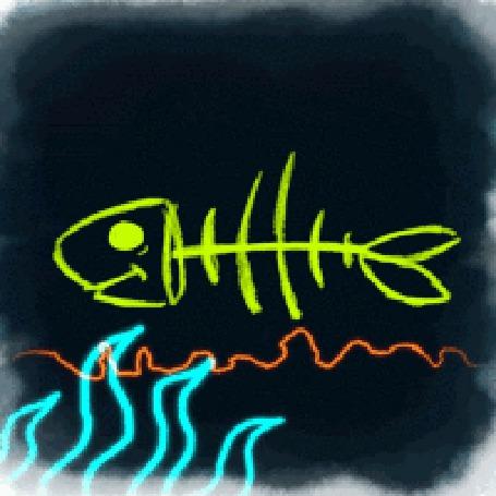 Анимация Стилизованная рыбка плывет в воде сквозь заросли водорослей