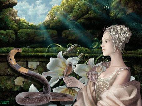 Анимация Девушка блондинка с блестящей прической держит в руках птицу, за ними видны орхидеи, напротив девушки - змей (© Solnushko), добавлено: 17.04.2015 10:22
