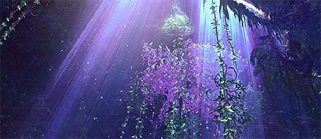 Анимация Падающие лепестки освещаются светом